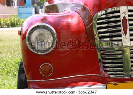 Cuba. Old Car and Palm - stock photo