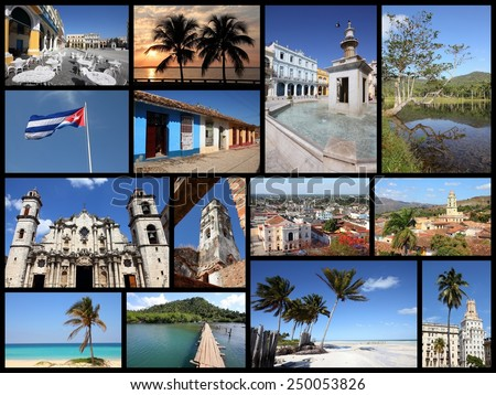 Cuba photos collage - travel memories photo collection. Images of Havana, Trinidad, Santa Clara, Baracoa and Caribbean beaches. - stock photo