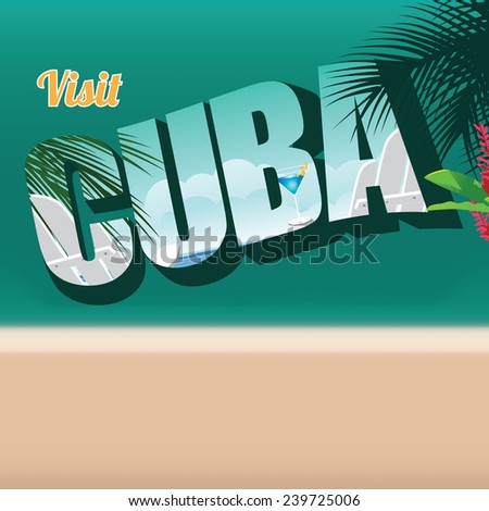 Cuba retro postcard typography background stock illustration - stock photo
