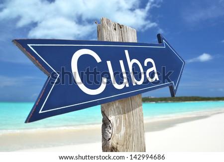 Cuba sign on the beach - stock photo