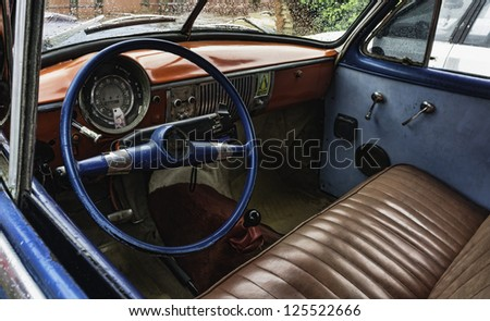 Cuba. Street scene with old taxi. - stock photo
