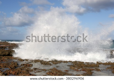Cuba, Varadero, huge wave at the coastline - stock photo