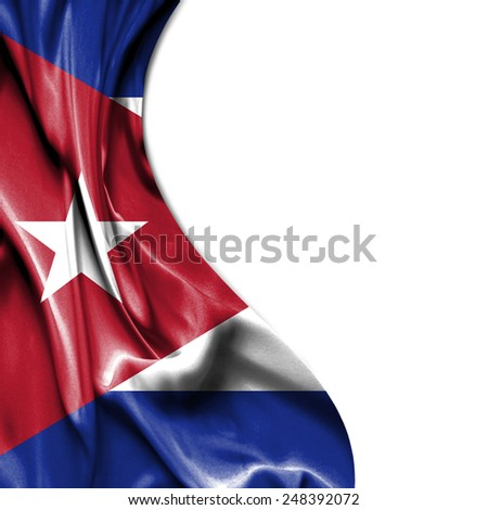 Cuba waving silky flag isolated on white background - stock photo