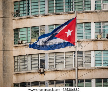 Cuban flag on a grunge decaying office building in 2015 - stock photo