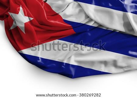 Cuban flag on white background - stock photo