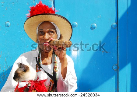 Cuban lady with siamese cat and big cigar in the streets of Havana, Cuba - stock photo
