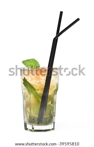 Cuban Mojito close up with white background - stock photo