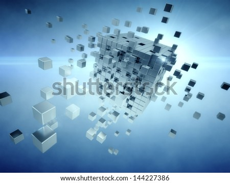 Cube assembling from  many blocks - stock photo