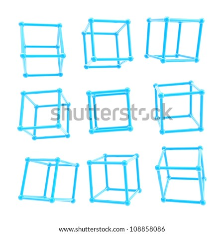 Cube carcass framework made of blue glossy plastic in nine different foreshortenings isolated on white background - stock photo