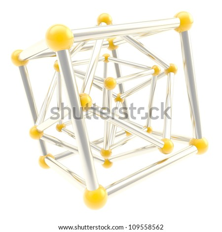 Cube carcass yellow plastic and chrome metal framework composition isolated on white as scientific abstract background - stock photo