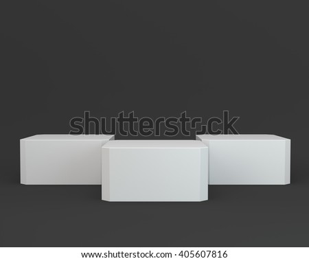 cube display on black background - stock photo