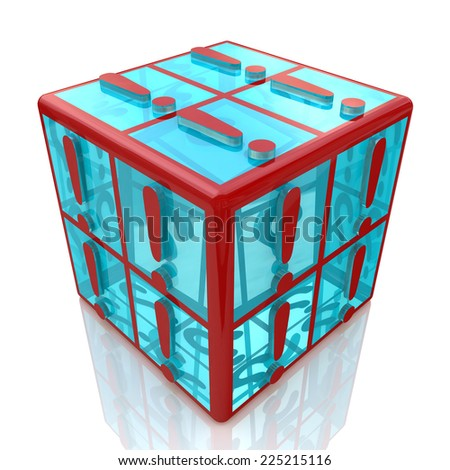 cube exclamations  - stock photo