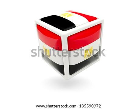 Cube icon of flag of egypt isolated on white - stock photo