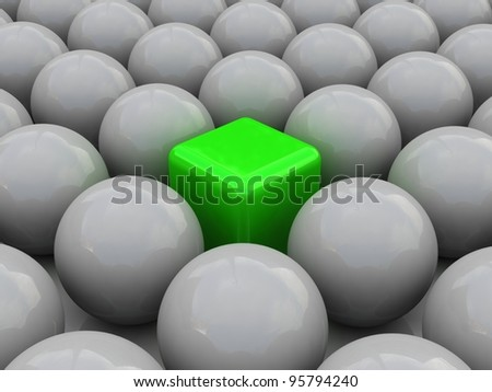 Cube in spheres. Concept of unique. Leader concept - stock photo