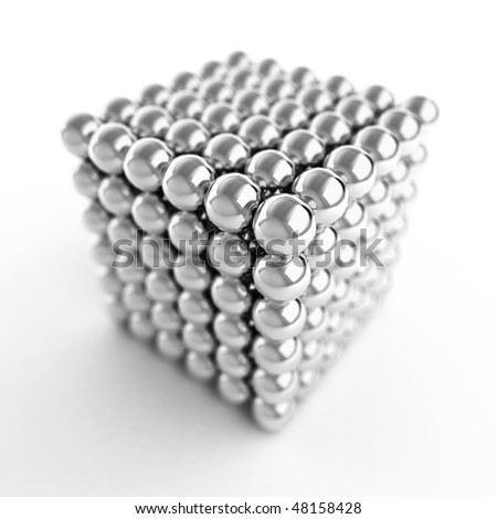 Cube made from shiny metal balls. 3d Illustration. - stock photo