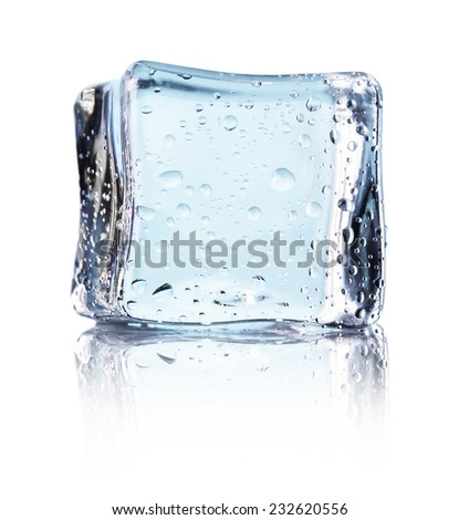 Cube of blue ice isolated on a white background - stock photo