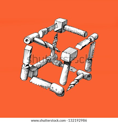 cube  of  carpentry  tools-2 - stock photo