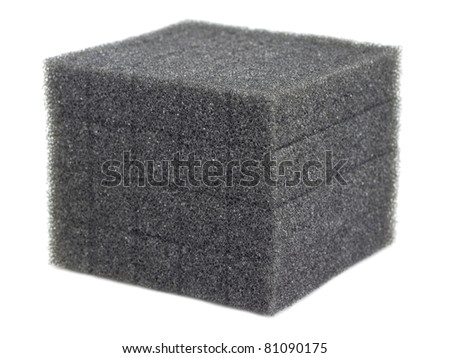 Cube of Foam Isolated - stock photo