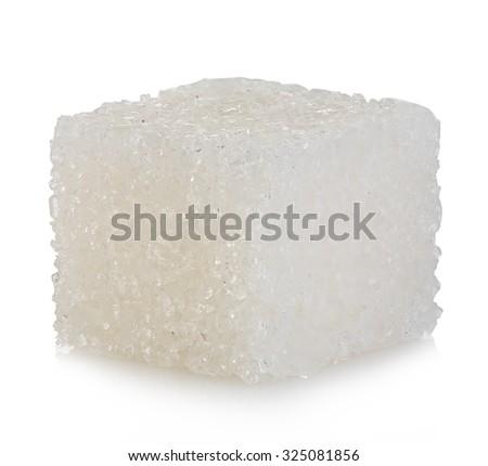 Cube of sugar isolated on white background - stock photo
