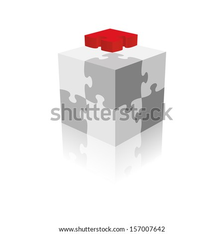 Cube Puzzle. Grayscale With A Red Piece. Raster version - stock photo