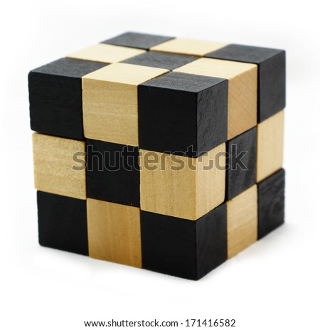 Cube puzzle in the form of wooden blocks isolated - stock photo