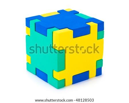Cube puzzle isolated on white background - stock photo