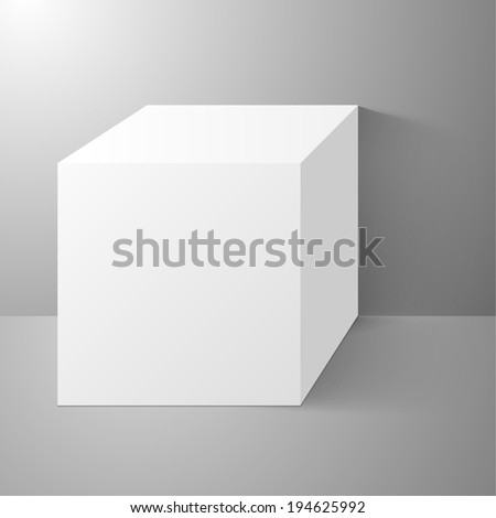 Cube standing near a wall, with clean surfaces. Scene with shadows, product presentation. raster version - stock photo