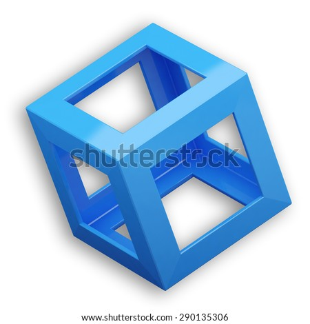 Cube with Blue Color - stock photo