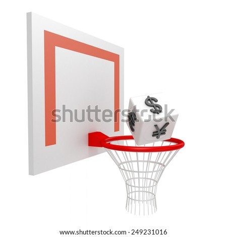 Cube with currency signs in the basketball hoop on a white background - stock photo