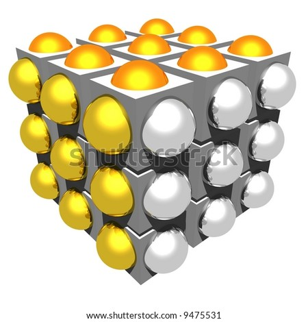 Cube with half spheres - (gold, silver & bronze) - stock photo