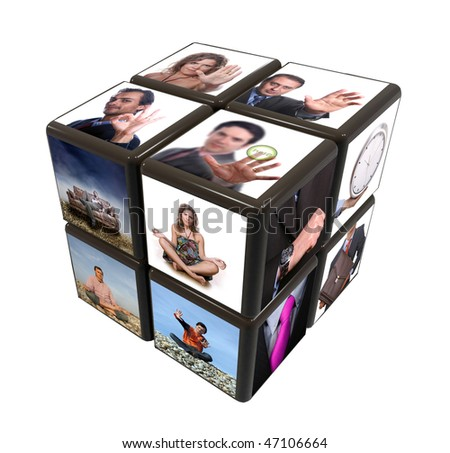 cube with many images on a white background - stock photo