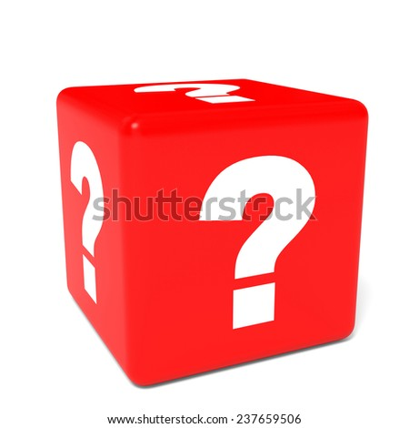 Cube with question sign. 3D illustration.