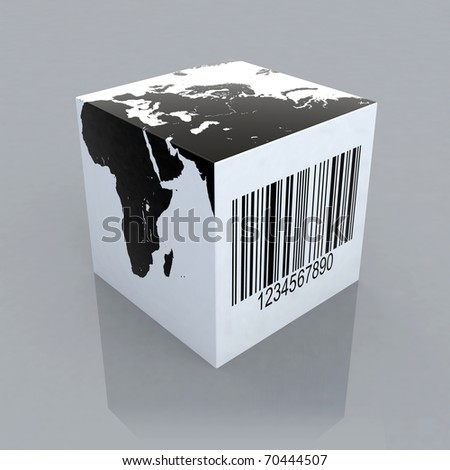 cube with world map and barcode 3d illustration - stock photo