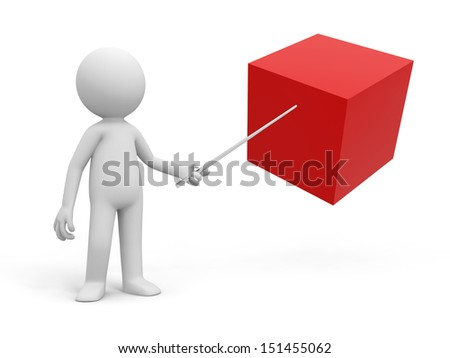 CubeA 3d people pointing at a cube with a stick