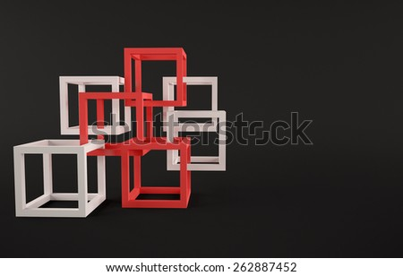 Cubes abstract composition with red and white cubes on black background - stock photo