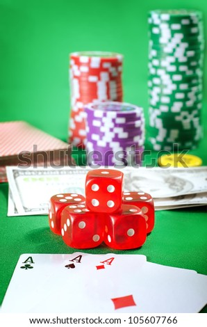 cubes and chips for poker - stock photo