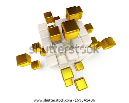 Cubes block. Assembling concept. Teamwork. Business. Last steps. On white background. 3D render icon.