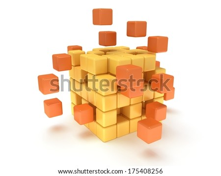 Cubes block. Assembling concept. Teamwork. Business. On white background. 3D render icon.