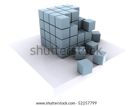 cubes deplaced - stock photo