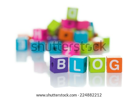 Cubes each with a letter on it written the word blog - stock photo