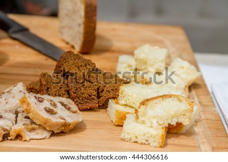 Cubes of bread croutons of white bread - stock photo
