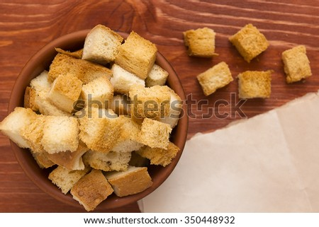 Cubes of bread croutons of white bread for cream soups.