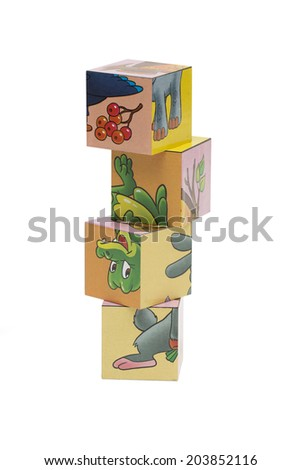 cubes toy on the white background - stock photo