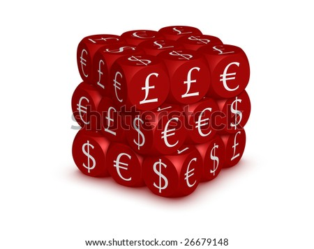 Cubes with currency symbols - stock photo