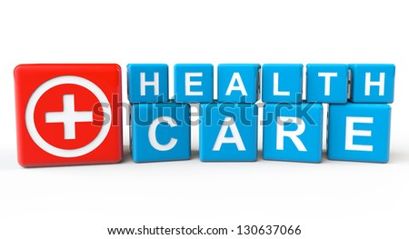 Cubes with Health Care sign on a white background - stock photo