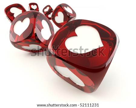 Cubes with heart. 3d - stock photo