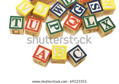 Cubes with letters isolated on white background - stock photo