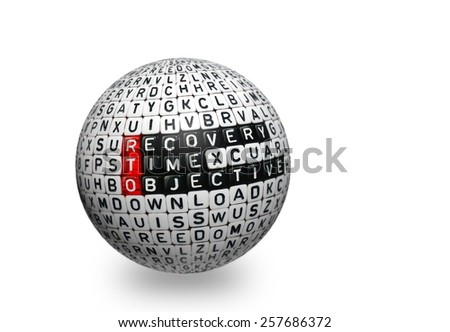 cubes with text , rto recovery time objective on 3d sphere - stock photo