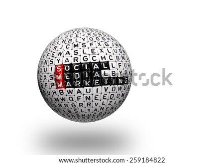 cubes with text  SMM , Social Media Marketing 3d  sphere - stock photo