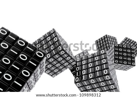 Cubes with the binary code numbers - stock photo